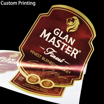 Custom Printing embossed wine private polish whiskey beer wine vodka drink bottle adhesive sealing Sticker Labels maker