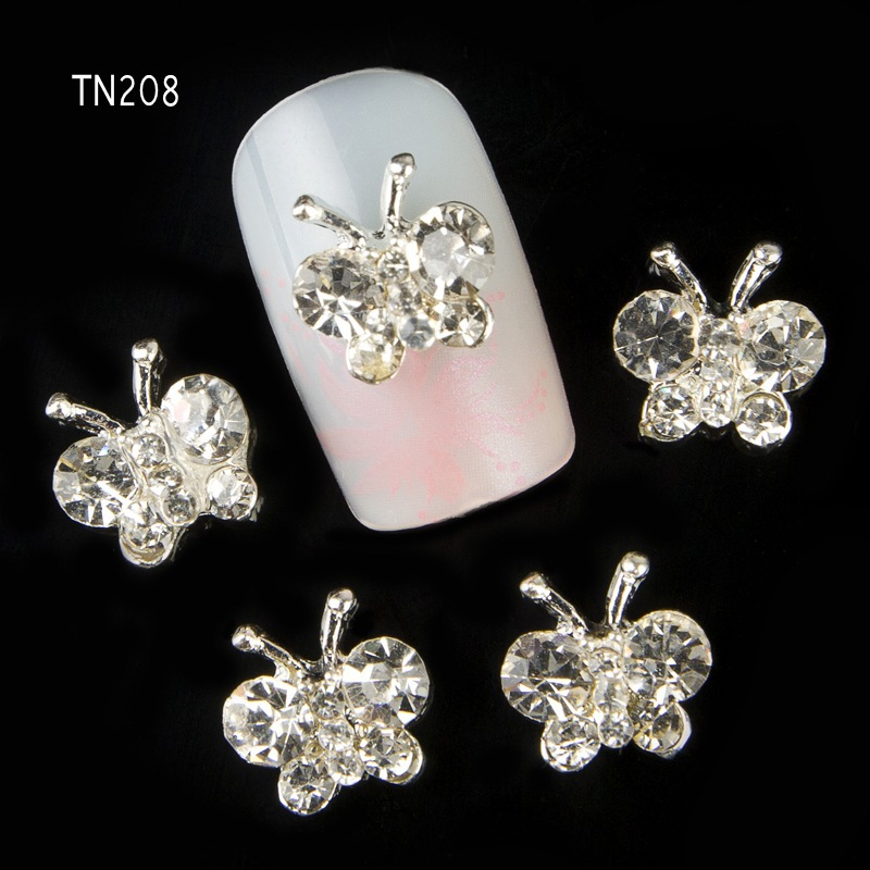 10pcs Glitter Butterfly Rhinestones 3d Nail Art Decorations Alloy Nail Stcikers Charms Jewelry for Nail Gel