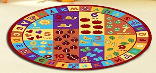 Furnish my Place Kids ABC Area Rug Educational Alphabet Letter Numbers Multicolor Actual Size Anti-Skid, Round