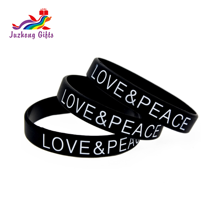 Cheap custom logo printed rubber bracelet,silicone wristband band