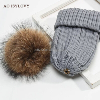 2017 Winter Designed Top Quality Custom Grey Knitted Hat 100 Acrylic raccoon fur Pom Beanie