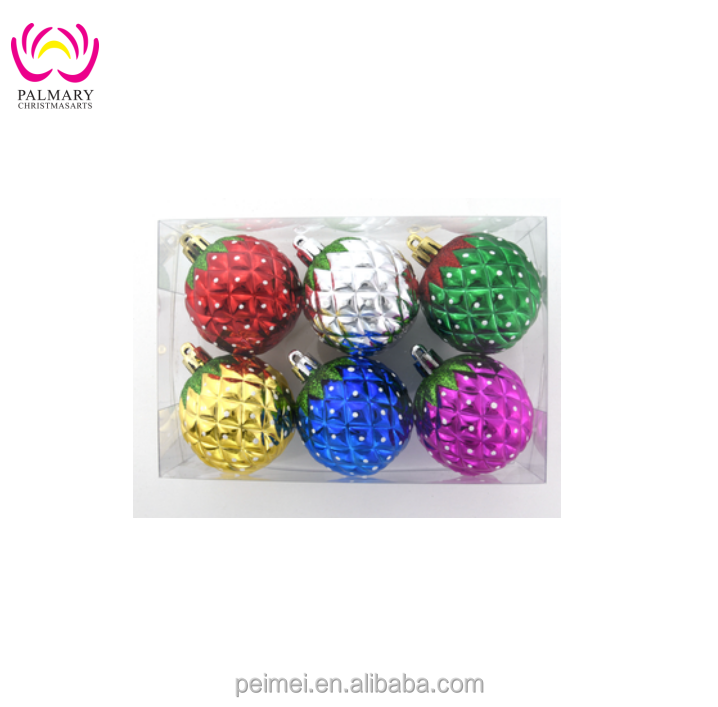 Factory wholesale pineapple plastic christmas tree decoration bauble , christams pendant .personalized christmas ball