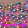 decorative colourful flat back heart shape pearls