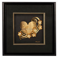 gold frame art pure gold 999 leaf plated carved flower and heart painting free purchase