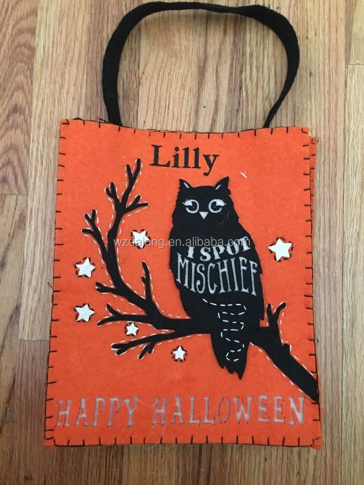 Halloween Pumpkin felt tote bag Trick Or Treating Bag Sack Mono Lilly felt bag