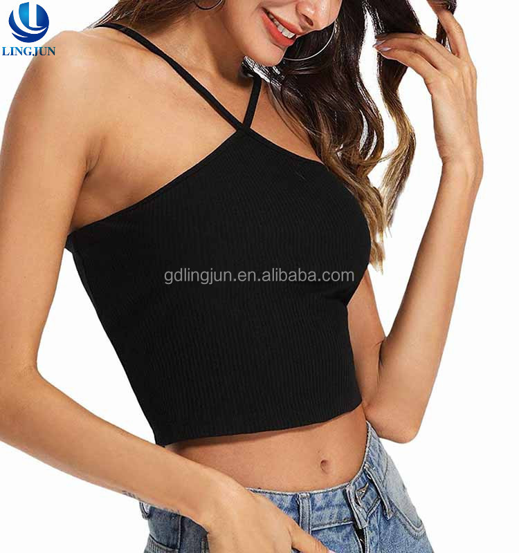 430ac52a1c123 Body Fit Sexy Black Midriff Baring Navel Halter Womens Sleeveless Casual  Sport Vest Tops