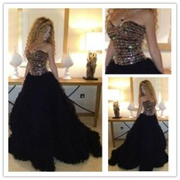 MF24 Sexy Myriam Fares Celebrity Arabic Black Sweetheart Beaded Ball Gown Evening Gowns Prom Dress