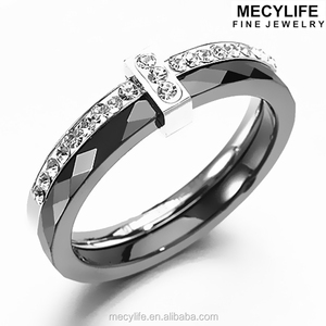 MECYLIFE Zircon Inlaid Stainless Steel Sides Fashion Ceramic Rings