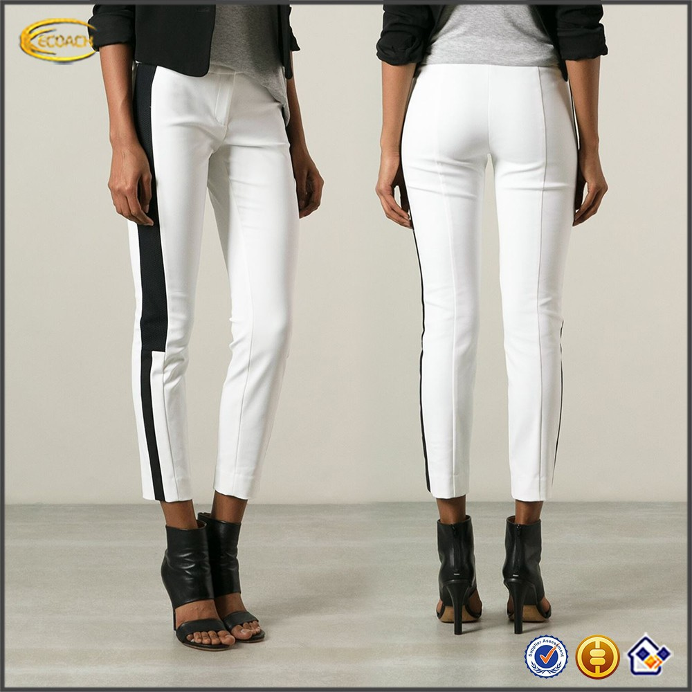 ladies trouser cutting White wool blend woven stripe alibaba trousers