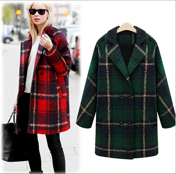 Plaid winter coats for women