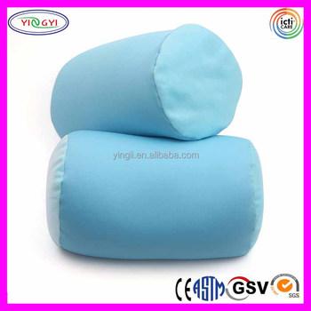 E599 Light Blue Microbead Neck Roll Bolster Pillows Comfort Support Micro Beads Pillow
