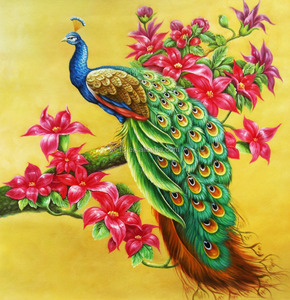 peacock oil painting original animal painting on canvas