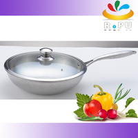 2015 new no oil smoke stainless steel wok pan cooking pot with glass lid