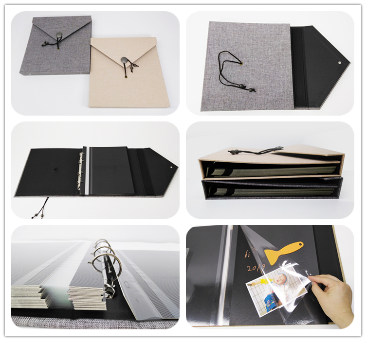 New high quality cheap price Loose-Leaf Binding Square 10x10 Hardcover Linen Photo Album Adhesive Pages With String Closure