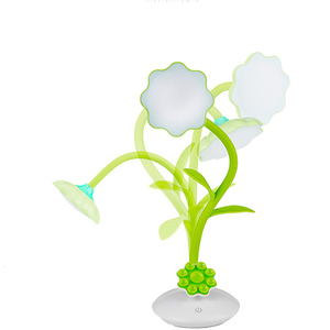 Rechargeable flower LED reading table lamp with mobile phone holder and touch switch