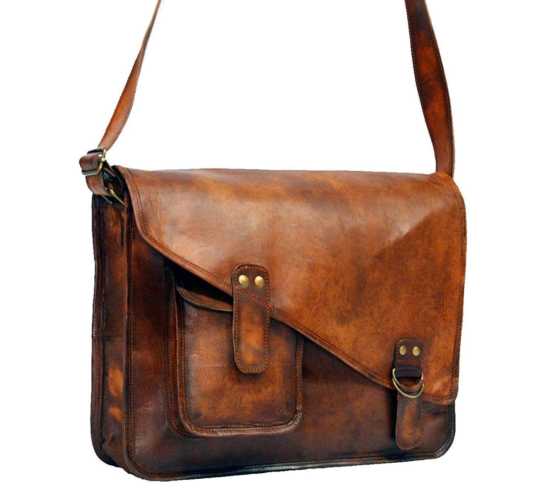 Get Quotations · Leather Full Flap Messenger Handmade Bag Laptop Bag  Satchel Bag Padded Messenger Bag School Bag 15X11X4 ef15faf9ad