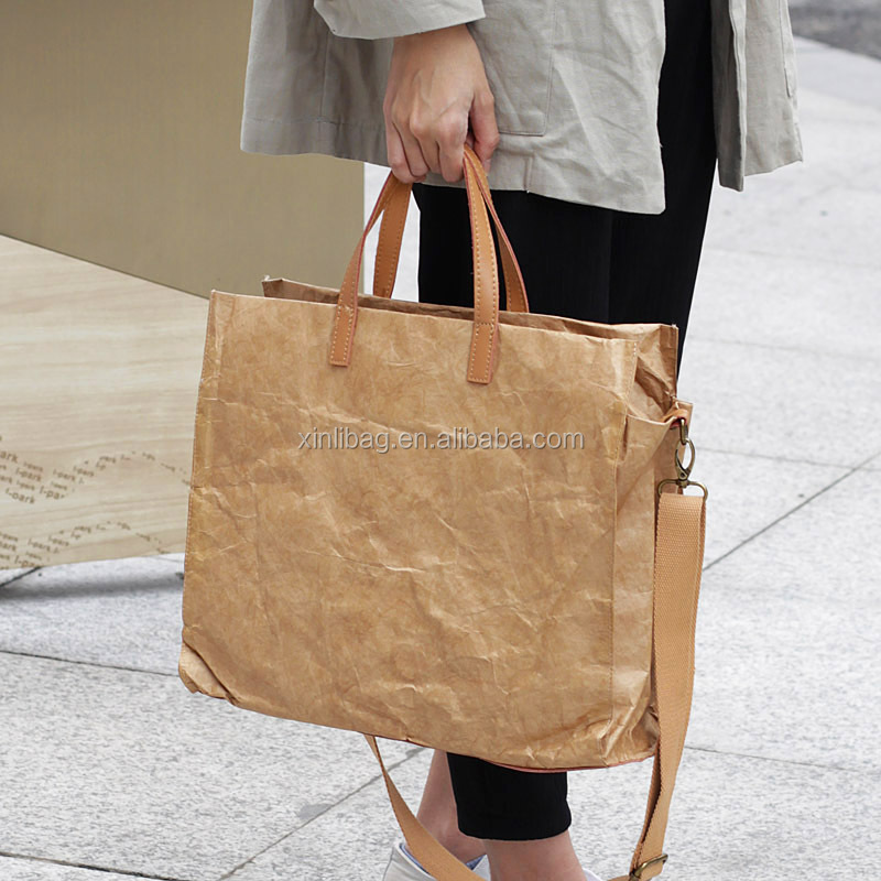 Alibaba China Suppliers 2017 New large capacity High quality vintage brown paper cross-body bag handbag