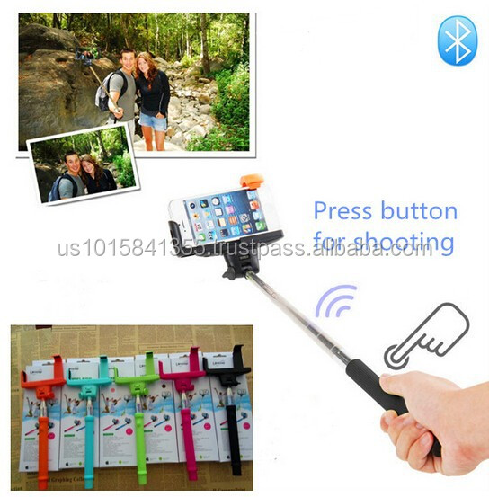 for iPhone Factory Price Imported Material Extensible Bluetooth Wireless Monopod Selfie Stick for Samsung