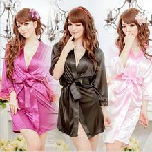 Hot Sexy Lingerie Satin Lace Black Kimono Intimate Sleepwear Robe Sexy Night Gown Bathrobes sleepwear evening dress housekeeper