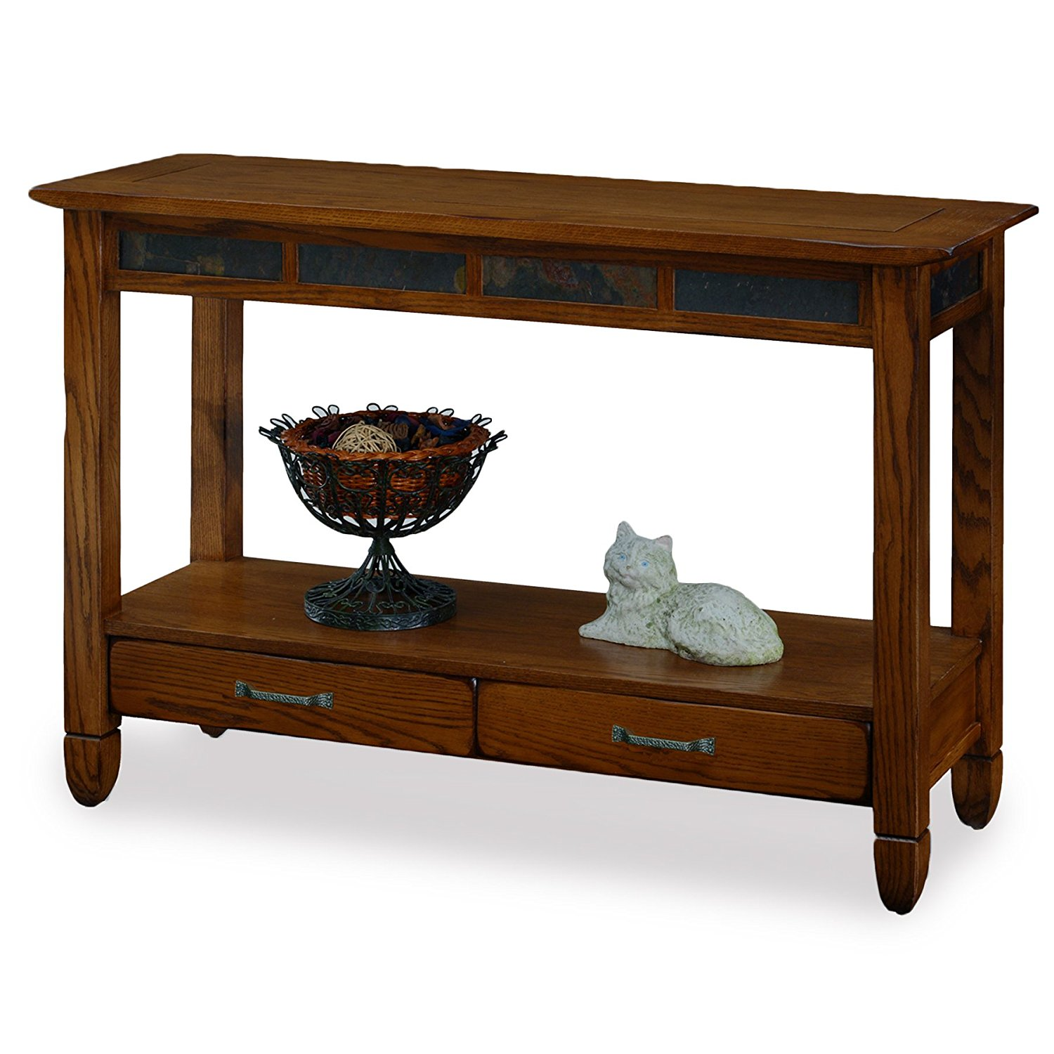 Get Quotations Slatestone Oak Storage Console Table Rustic Finish