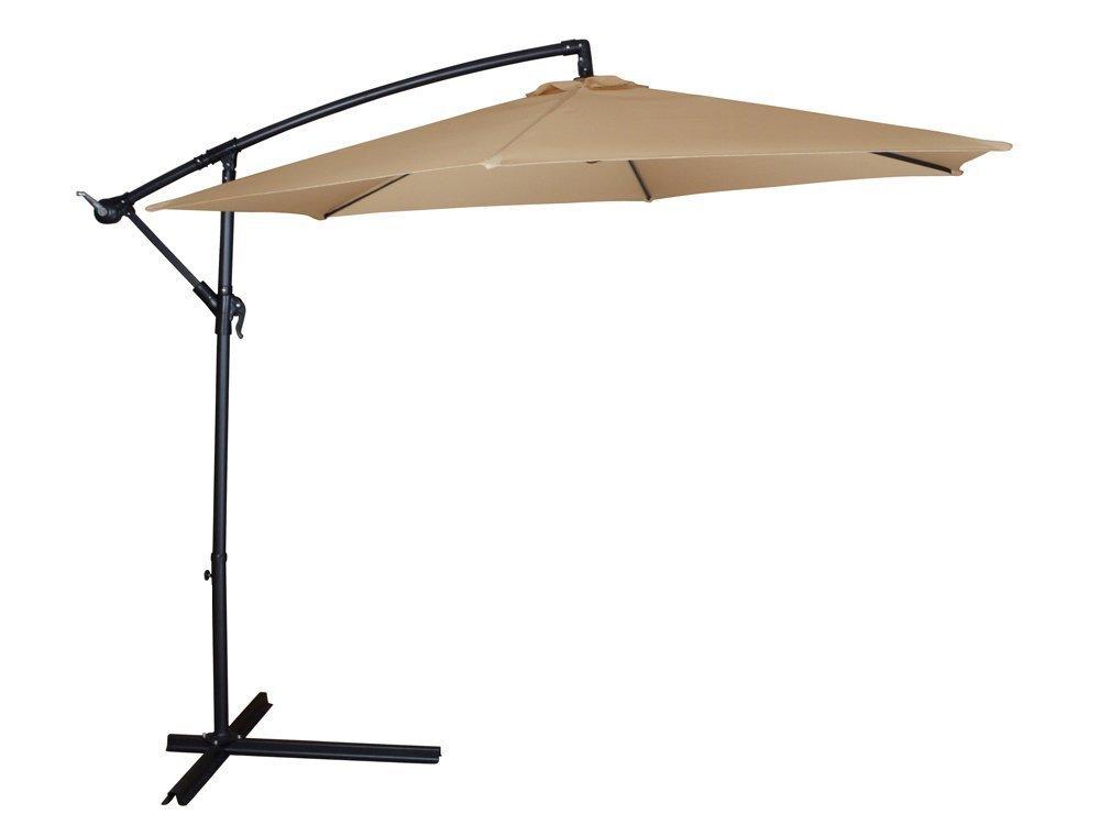 TMS Patio Umbrella Offset OutDoor 10ft Garden Deck Cantilever Hanging Canopy Umbrella, Tan