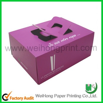Purple Or Pink Color Birthday Cake Box With White Logo Buy Birthday Cake Box Wedding Cake Box Cake Boxes With Handle Product On Alibaba Com