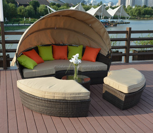 Garden Furniture Outdoor Resin Wicker Sun Bed Round Rattan Daybed with Canopy for Sale