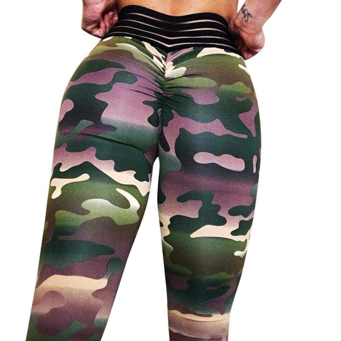 Clearance Sale Women Camouflage Trousers,Vanvler Ladies Leggings Sexy Yoga Pants Push Up for Fitness Sports Gym Running Workout (M, Green)