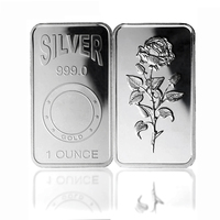 wholesale business gift customized fine .999 pure silver 1 troy ounce bar solid silver plated 1 oz souvenir bullion bars