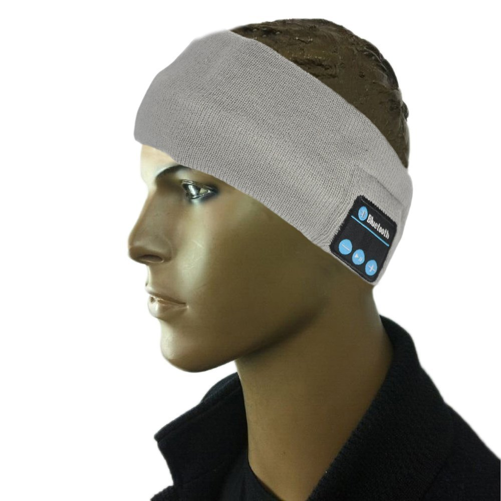 BearsFire® Fashion Outdoor Wireless Bluetooth Knit Sport Headband Music Headgear Eye Patch Music Eye Wear Eye Mask Blinder Hands-free Phone Call Answer Ears-free Headwear (Grey)