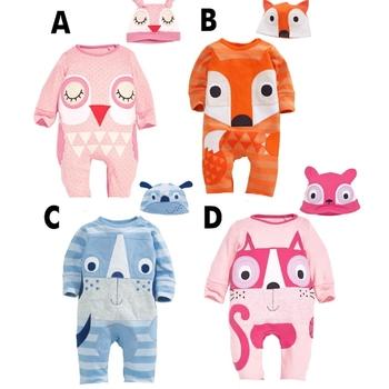 Ms64970c Cute Fox Design Hood Romper Wholesale Organic Baby Clothes