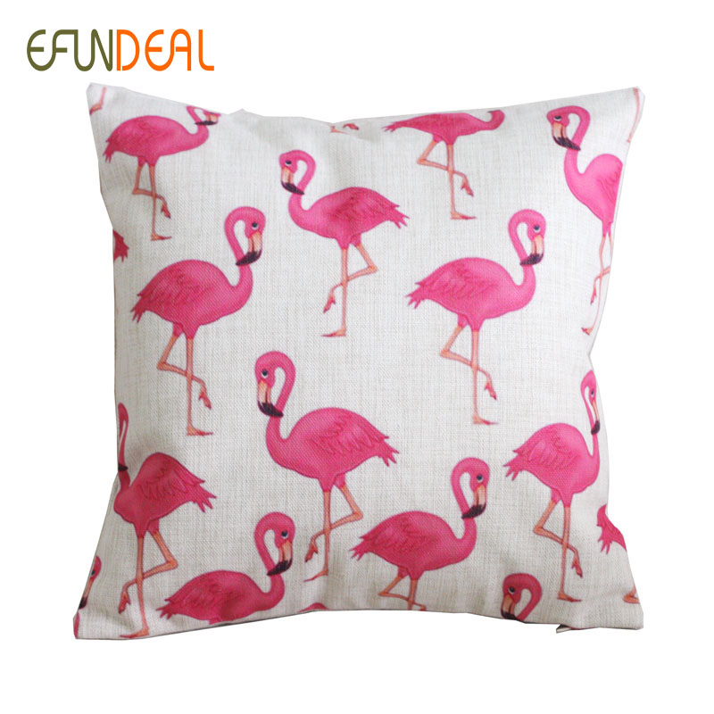vintage linen pillow cushion cover throw decorative cushion covers 45cm 45cm pink flamingo. Black Bedroom Furniture Sets. Home Design Ideas