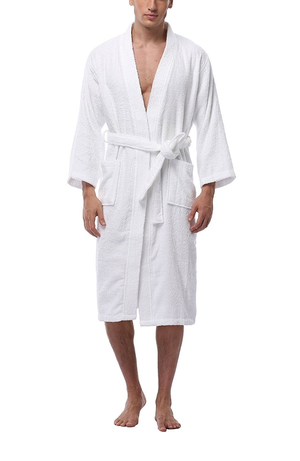 5a58133c0c Get Quotations · FADSHOW Men s Terry Cloth Robe Unisex Hotel Spa Bathrobes  Turkish Cotton Wrap Robes