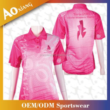 100% polyester quick dry pink women golf shirt sublimation polo shirt