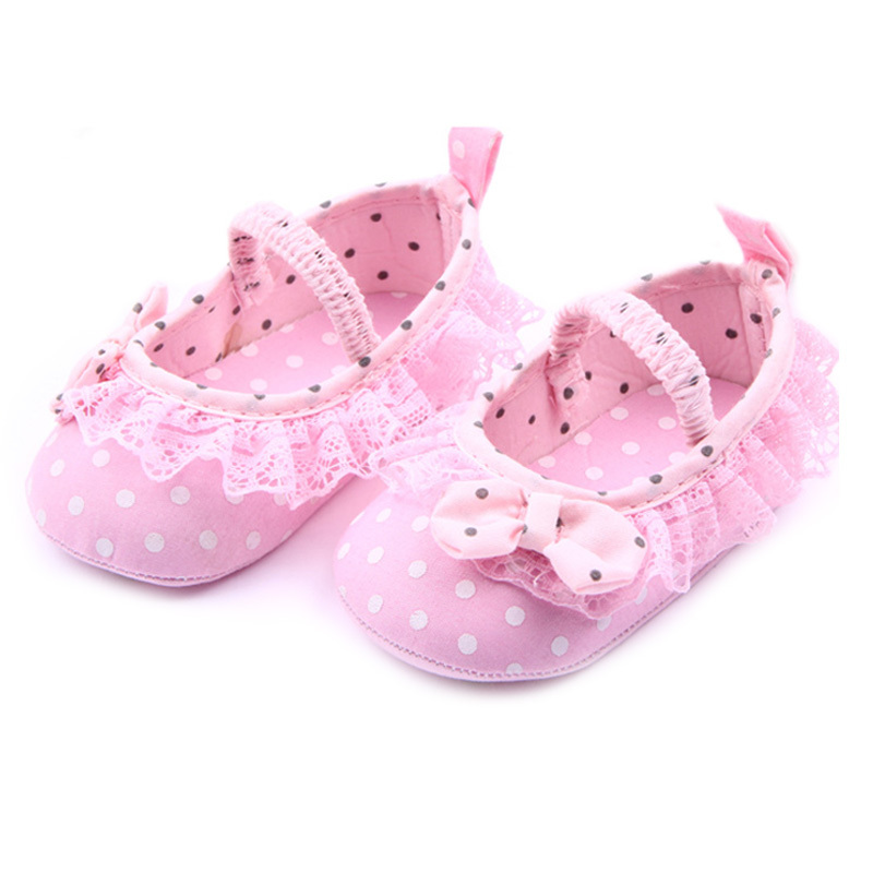 2015 Newborn Baby Girl Shoes Pink Polka Dot Bow-knot Princess Shoes Spring Autumn Girls First Walkers CQ169