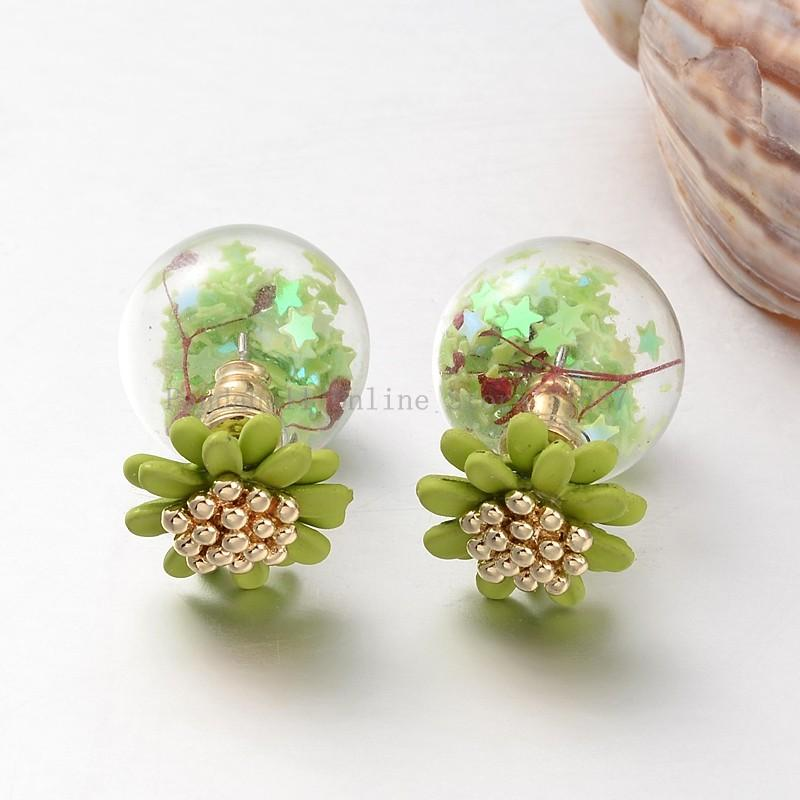 Double Sided Round Gl Ball Stud Earrings With Resin Flower Beads And Br Findings Platinum Yellowgreen 16mm 14mm In Price On M Alibaba