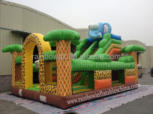 Jungle lion inflatable playground with slide Inflatable Bouncy on sale
