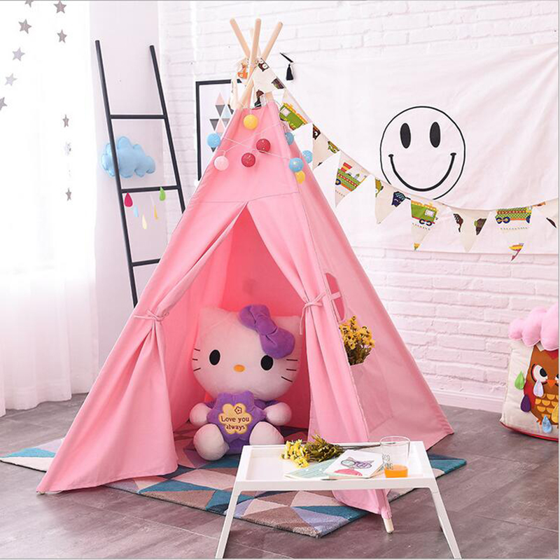 DM Wholesale 364 canvas pink kids toy tents princess house Childrens Play House Tipi Room Decor girls play tent