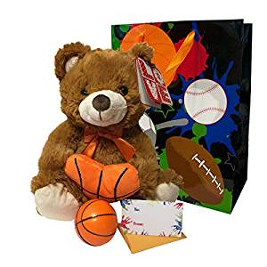 Sports Gifts For Boys Gift Bag Set Includes Plush Athletic Teddy Bear Soft Basketball