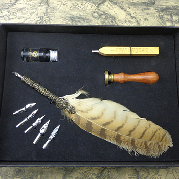 Office personalized cheap vintage souvenir writing wooden stamp fluffy feather quill pen