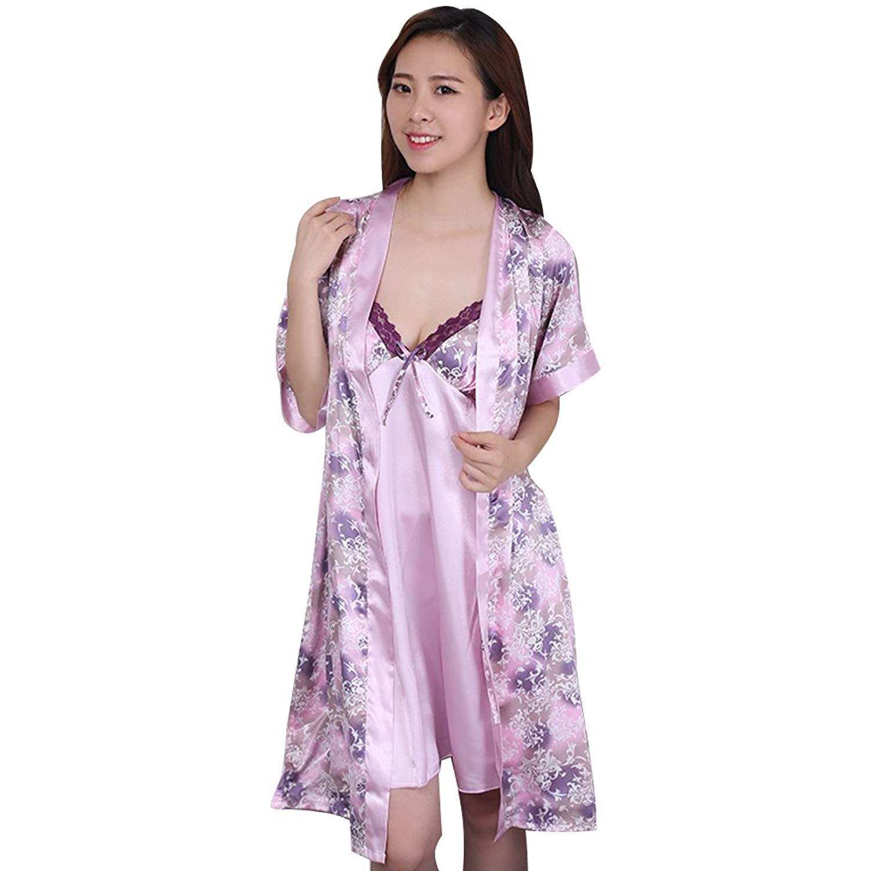 51c4710c46 Buy 2 Piece Womens Sexy Silky Satin Lace Nightdress Robe Sleepwear ...