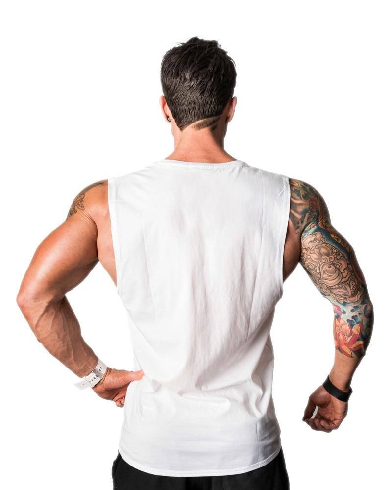 6c40484f3eb248 Mens Muscle Tee Black White Cotton Plain Deep Cut Tank Top Crew Neck  Sleeveless T