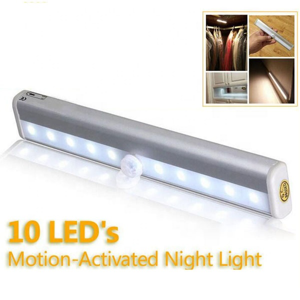 Portable 10 LED AAA batteries PIR Wireless Lamp Stick Bar Wardrobe Under Cabinet Motion Sensor Closet Light