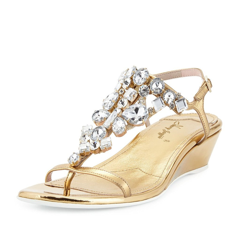 03fd9bca4fd Get Quotations · Nancy Jayjii NJPU Women Rhinestones Low Heels Pumps With  Slingback Gold Thong Bridal Sandals