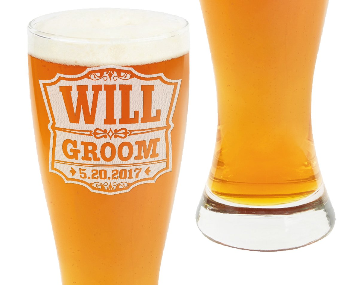 Classic Wedding Pub 23oz Party Pilsner Beer Glasses Personalized Engraved Groomsmen Gift Custom Man of Honor Father of Bride Father of Groom Guest Wedding Favor Decor