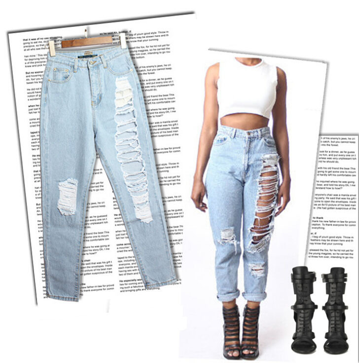 c9bab2f2fd94 Buy 2015 New Summer Style Ripped Jeans woman fashion Ladies Hole Harlan  Denim Pants loose Boyfriend Jeans for women Plus Size WJ048 in Cheap Price  on ...