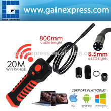Handheld inspektion 8.5mm kamera hd 20m WiFi Range wasserdichte endoskop 6 führte endoskop rohr ios android fenster iphone ipad