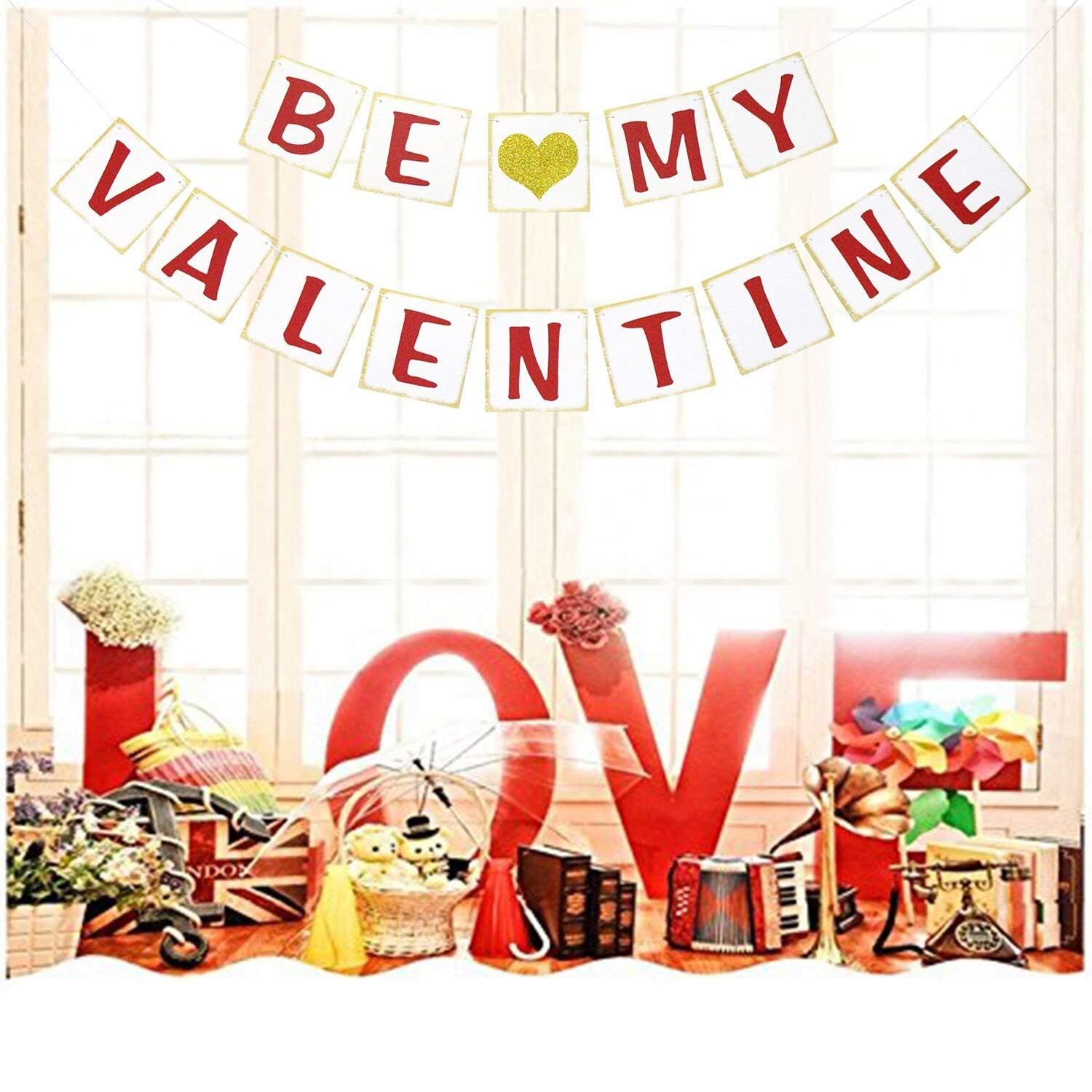 Be My Valentine Banner | Valentines Day Decorations | Valentines Party Decor | Valentines Party Favors | Valentine Photo Prop | Valentines Garland | Gold Glitter Heart