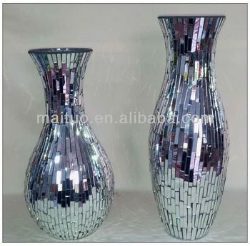 Mirrored Mosaic Vase Buy Crackle Glass Vasebig Vases Glassmosaic