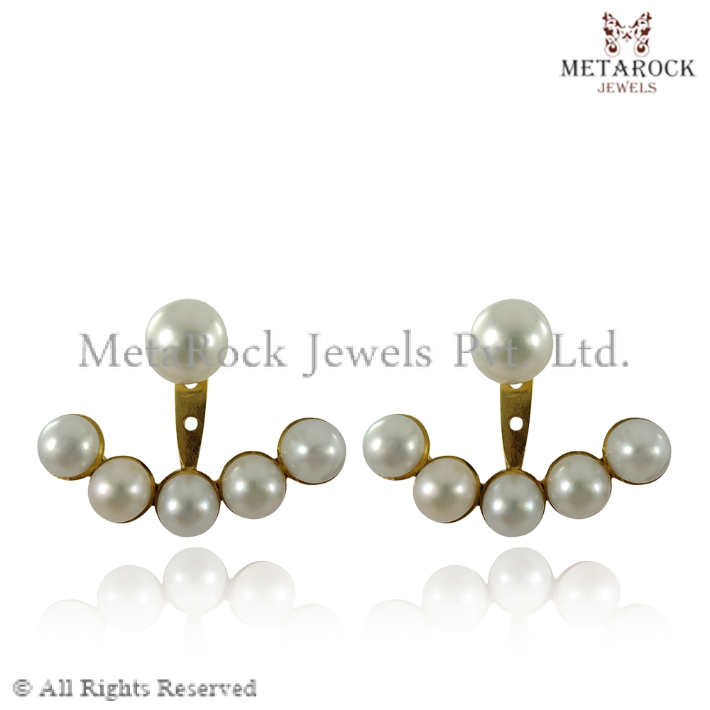 14k Gold Freshwater Pearl Jacket Earrings Gift for Her Women Jewelry Handmade Jewellery Wholesale